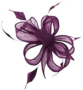 Hawkins Collection Sinamay Loops and Leaves Comb Fascinator in Purple, size: One Size