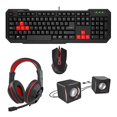 Mars Gaming BLM4 - Pack ratón, Teclado, Auriculares y Altavoces (Ratón iluminación...