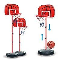Yavso Children 63-150cm Adjustable Basketball Hoop and Stand, Free Standing Portable Basketball Stand Mini Ball Set for Kids 50-140cm Height