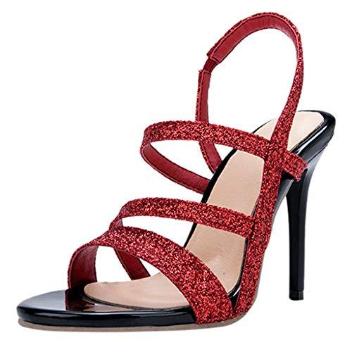Siswong Sandali Estivi Donna Eleganti Scarpe Shoes Scarpe da Donna Estive Sandali con Paillettes Open-Toe Scarpe col Tacco Alto di Grandi Dimensioni(Rossa,42)