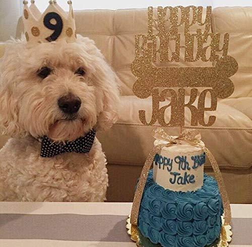 JeVenis - Decoración para tarta de cumpleaños, diseño de perro con purpurina