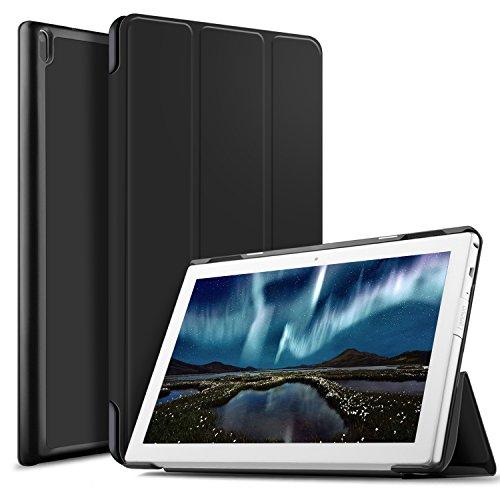 IVSO Lenovo Tab4 10 Hülle, Ultra Schlank Ständer Slim Leder zubehör Schutzhülle perfekt geeignet für Lenovo Tab4 10 / Lenovo Tab 4 10 Tablet PC, Schwarz (Leder 10)