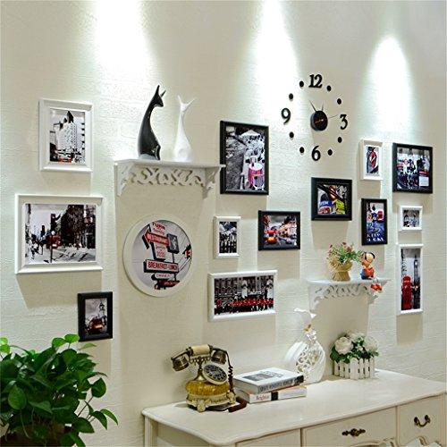 Photo Wall ALUK- Un Insieme di 14 Pezzi in Legno Massiccio Combinazione  Cornice Parete Soggiorno Europeo Camera da Letto corridoio Decorazione  Parete ...