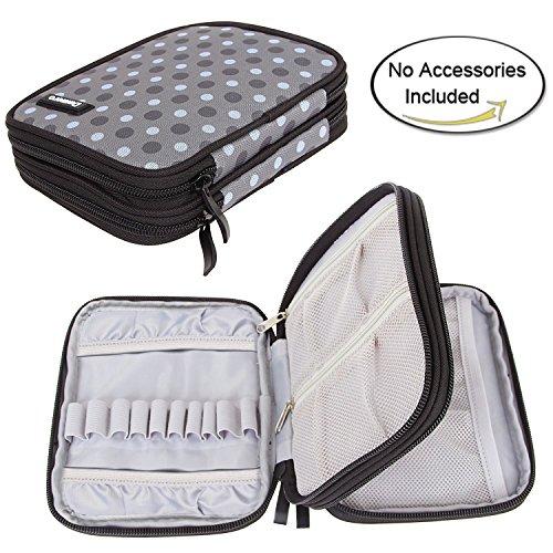 Damero Étui aux accessoires de crochet-- Petit sac organisateur à outils de crochet,Qualité haute,Matière imperméable,Léger et Facile à porter(pas d'accessoires inclus), Gris à pois