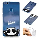 SpiritSun Huawei P10 Lite Hülle, Huawei P10 Lite Schutzhülle, TPU Flexible Silikon Case Etui Schutz Durchsichtige Tasche Transparente mit Muster Handyhülle Clear Cover Motiv-Hallo Panda