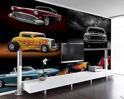 Keshj carta da parati Custom Cool Retro Retro Luxury Sports Car Auto Tool Wall 3D Restaurant Hotel Decoration Mural Bar Cool Wallpaper-250cmx175cm