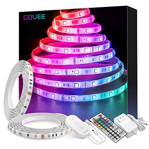 Striscia LED RGB 10M, Govee LED Striscia Impermeabile 5050 Cambiamento di Colore Kit Completo con 44 Tasti Telecomando IR & Alimentatore Led Strip Illuminazione per Giardino, Bar, Fest
