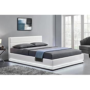 filip lit adulte avec led multicolore 140x190 cm tete de lit avec strass sommier blanc. Black Bedroom Furniture Sets. Home Design Ideas
