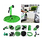 #3: BJE 100 Feet/30.48 Meter/75 Ft Garden Hose with 7 Function Spray Nozzle and Shut-off Valve(Color May Vary)