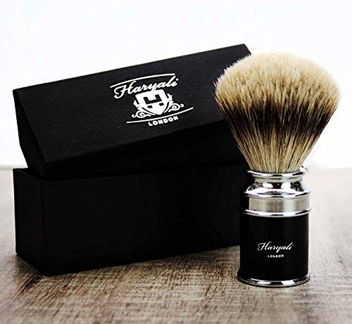 Stunning Black Handle & Pointe argentée blaireau cheveux blaireau - Idéal pour la maison ou Voyage de Luxe Un Blaireau supérieure. - doit être disponibles pour Messieurs Grooming Kit