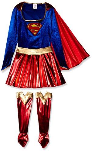 Imagen de supergirl para mujer disfraz de expreso del vestido de lujo, color azul, tamaño mediano tamaño 10 12 alternativa