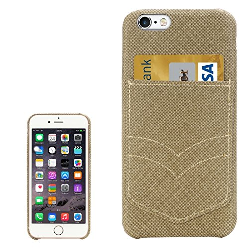 JING Pour iPhone 6 / 6s, étui de protection arrière en maille de poche Jeans avec emplacement pour carte ( Color : Gold ) Gold