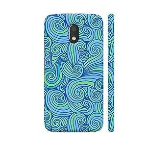 Colorpur Hand Drawn Blue Waves Designer Mobile Phone Case Back Cover For Motorola Moto E3 / Moto E3 Power | Artist: Abhinav