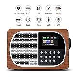 LEMEGA M2+ Tragbares Smart-Radio Und Kabelloser Lautsprecher Mit Wi-Fi, Internetradio, Spotify, Bluetooth, DLNA, DAB, DAB+, UKW-Radio, Uhr, Alarmen, Senderspeicher Und Kabelloser Appsteuerung - Nussbaum