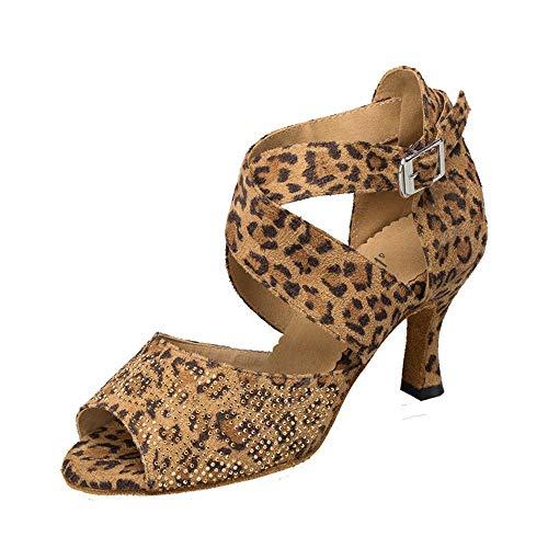 HCCY Zapatos de Baile Latino con Diamantes. Sandalias de Baile de Baile para Mujer Adulta Moderna. Zapatos de Baile de salón de tacón Alto de Leopardo. Primavera y Verano Suaves, 6 cm, 39