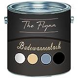 The Flynn Badewannenlack SET hochwertige Badewannenbeschichtung in Weiß, Grau, Schwarz und Beige 2 Komponenten glänzend (2,5 kg, Schwarz)