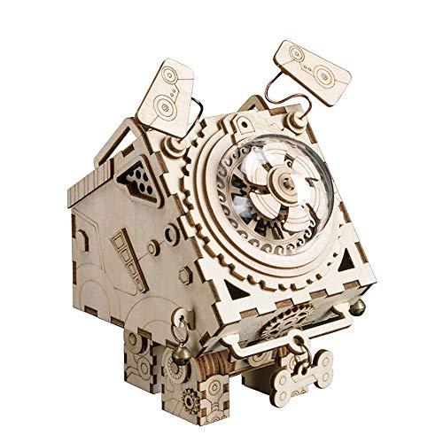 QHWJ Holzspielzeug Puzzle, hölzerne spieluhr mechanische spieluhr Maschine Hund Handwerk heimtextilien manuelle DIY dreidimensionale Puzzle