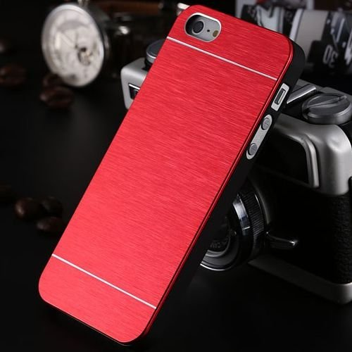 Apple iPhone 5 Case Glitzer Aluminium Handyhülle Metall Cover Blau Rot