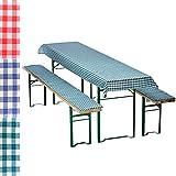 Auflagen-Set für Bierzeltgarnitur Kariert 3-teilig Tischdecke 240 x 70 cm für 50 cm breite Biertische und 2 gepolsterte Bankauflagen 220 x 25 cm, Farbe:Grün