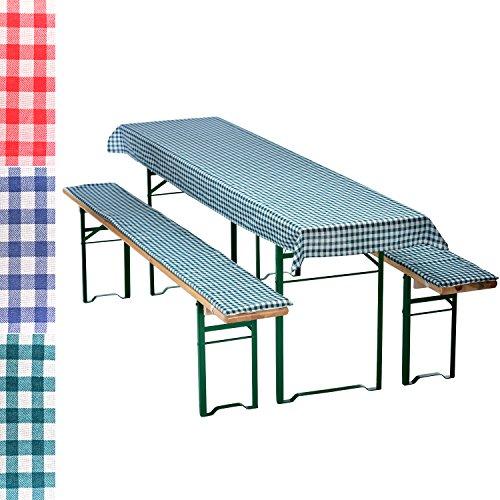 Auflagen-Set für Bierzeltgarnitur Kariert 3-teilig Tischdecke 240 x 70 cm für 50 cm breite...