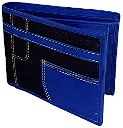 NUKAICHAU Blue Single Fold Mens Leather Wallet