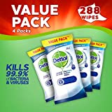 Dettol Wipes Antibacterial Surface Cleaning Disinfectant Wipes  - Multipack of 4 x 72 - Total 288 Wipes
