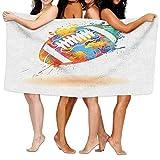 Dutars Lustiges Badetuch Sport Rugbyball mit Regenbogen-Bürsteneffekten, gefüllt mit Farben, Sportschild, weiches saugfähiges Strandtuch, Pool-Handtuch, 30 x 50 cm