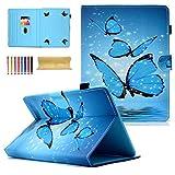 dteck Universal 7.0–10.1Schutzhülle für Apple iPad, Samsung Galaxy, Huawei, Asus, Dell, HP, LG G Pad, Kobo, RCA, Google, Prestige Pro, Hisense und mehr Android Windows Tablet 01 Blue Butterfly For 6.5-7.5 inch tablet