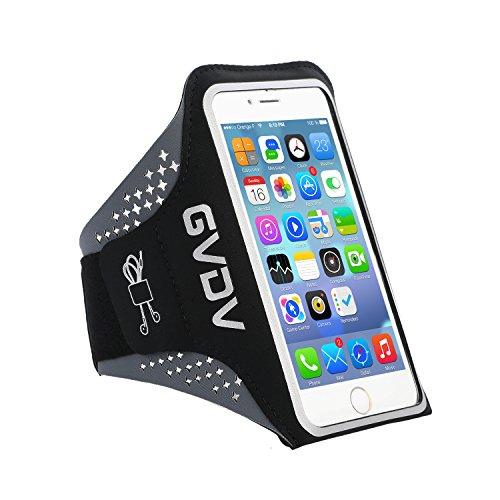 """GVDV Fascia da braccio sportiva per smartphone da 4.7"""" a 5.1"""", resistente al sudore con portachiavi e carte, foro per uscita auricolari e tripla tasca per escursioni camminate jogging palestra"""