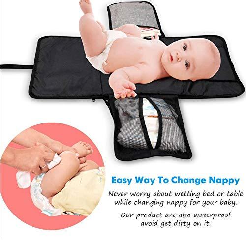 Materassino per pannolini portatile, pieghevole, impermeabile, per fasciatoio, grande borsa per riporre i pannolini, per casa, viaggi all'aperto