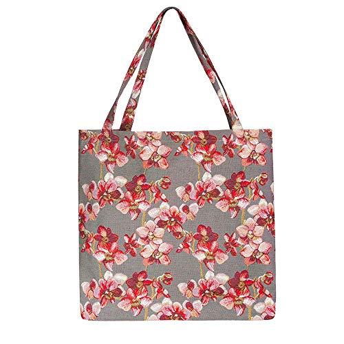 Bunt Damen Große Shopper Umhängetasche Henkeltasche von Signare / Tapisserie Damen handtasche Öko beutel / Rosa Orchidee (BGECO-ORC) -