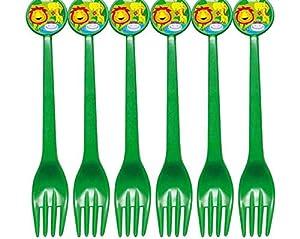 Atosa-Atosa-16817-tenedores Jungla 17cm 6 Unidades, Color Verde, Talla única (16817)