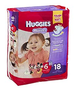 Huggies Diapers Little Movers Disney Size 6 (OVER 35 lb) 18 CT (Pack of 4)