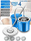 #9: Hugo Mop Bucket Magic Spin Mop Bucket Double Drive Hand Pressure Stainless Steel Mop with 4 Microfiber Mop Head Household Floor Cleaning & (4 Color May Vary) (with Soap Dispenser)