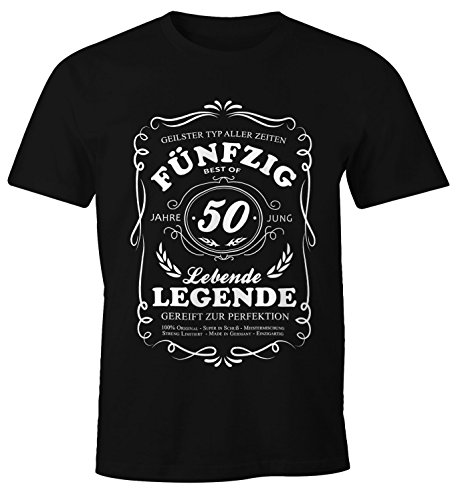 MoonWorks Lebende Legende Herren T-Shirt Geschenk 50. Ten Geburtstag Jahre Schwarz XL (Geburtstag Mann, T-shirt)