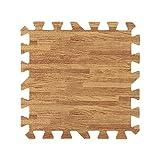 9 piezas de 30X30cm de madera impresa de grano de bloqueo de espuma de tres colores de espuma de EVA piso Puzzle Mats ( Color : Light Brown )