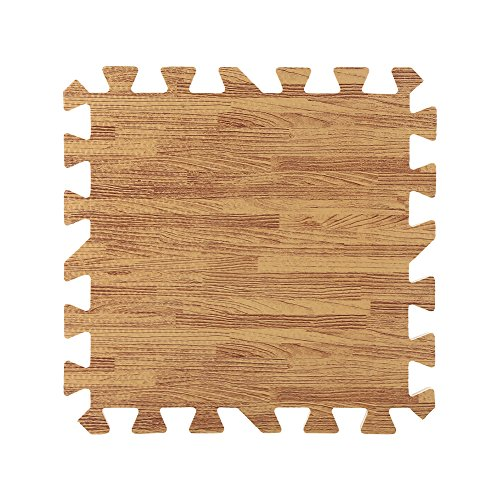 9 Pcs 30X30cm Imprimé Bois Grain Mousse de Verrouillage Trois Couleurs EVA Mousse Tapis de Sol Puzzle ( Color : Light Brown )