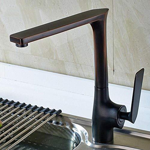 Deco Bronze Drain (Klassischer Black 360 ° drehbare Einhebelmischer Wannen-Hahn Einhebel-Küchen-Wannen-Mischer-Hahn Messinghahn Mixer-Wannen-Mischer-Hahn-Öl eingerieben Bronze gebürstet, schwarz, schwarz)