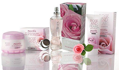 Ensemble Rose & Perle - Eau de parfum Rose 65 ml, Crème hydratante 24 heures SPF 15 et Masque réparateur