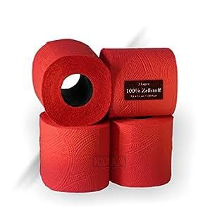 64 rouleaux de papier toilette en ouate de cellulose triple paisseur rouge noyau en noir. Black Bedroom Furniture Sets. Home Design Ideas