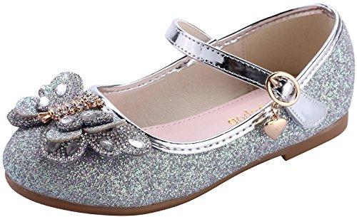 miaoshop Mädchen Ballerina flache Hochzeitskleid Schuhe Kinder Party Tanz Kristall Schmetterling...