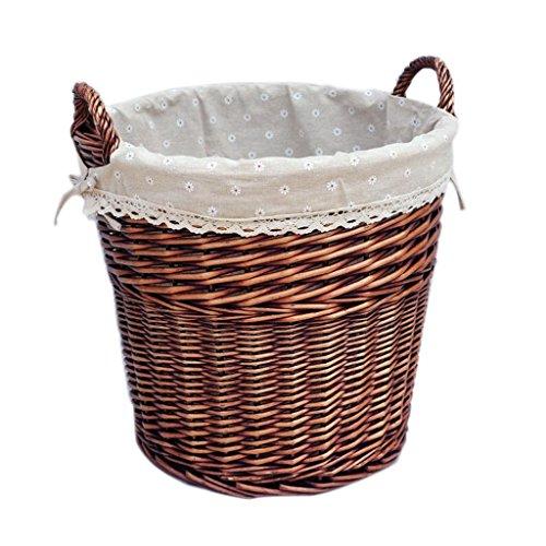 CHENGYI Dunkelbraun Weide Schmutzig Korb Rattan Korb Schmutzig Kleidung Korb Wäsche Korb Spielzeug Lagerung Fässer Hand Made Dirty Clothes Storage Basket (Farbe : B)