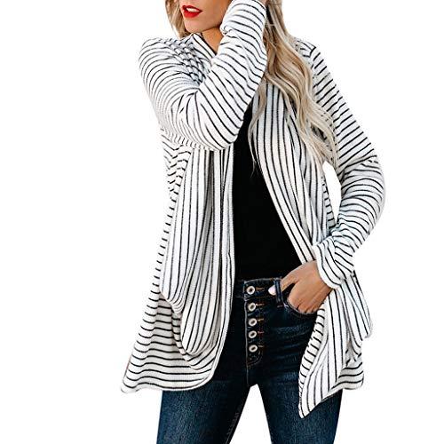 Damen Frühling Herbst Long Pullover, OHQ Frauen V-Neck Stripe Irregularity Long Sleeves Cardigan Blouse -
