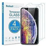 Beikell Verre Trempé pour iPhone XS Max, [Lot de 4] Film Protection d'écran en Verre Trempé Film Protecteur Vitre-Dureté 9H,2.5D Bord,sans Bulles,Anti-Rayures 6.5 Pouces-Compatible avec 3D Touch
