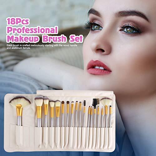 18 Piezas Pinceles de Maquillaje Juego de Pinceles de Maquillaje con Estuche de Viaje Mango de Madera Cepillo Kabuki de Fibra Sintética Para Base de Maquillaje Rubor Sombra de Ojos Poder Facial