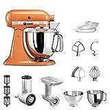 KitchenAid Küchenmaschine Artisan | 5KSM175E | STARTER PAKET inkl. Gemüseschneider, Fleischwolf und Standardzubehör (Tangerine)