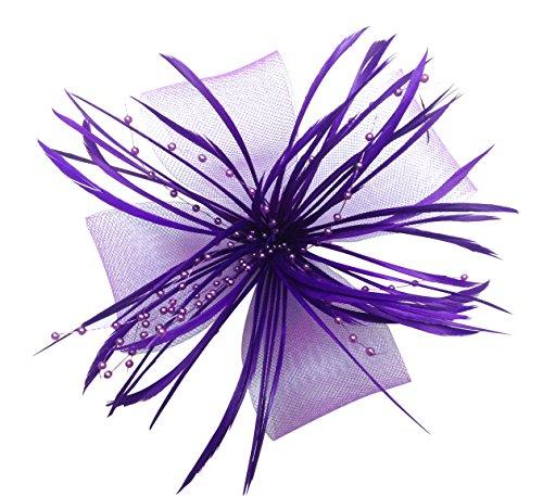 ascinator Korsage Brosche Pin Haarspange Feder (# Lila) ()