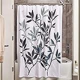iDesign Leaves Duschvorhang | Designer Duschvorhang in der Größe 183,0 cm x 183,0 cm | schickes Duschvorhang Motiv mit Blättern | Polyester schwarz/grau