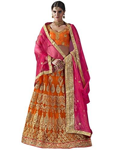 Women'S Orange Color Embroidered Lehenga