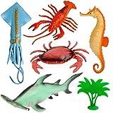 6 TLG. Set - Spielfiguren -  Fische - Unterwasser Tier / Meerestiere  - Spielzeug Tiere - Kunststoff / Weichgummi - Schwimmen im Wasser - z.B. Hammerhai - K..